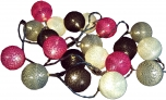 Stoff Ball Lichterkette LED Kugel Lampion Lichterkette - grau/braun/pink